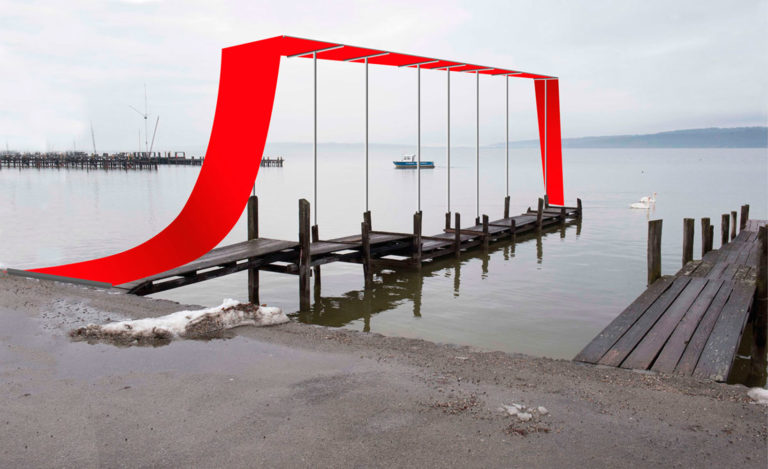 """Fotomontage, """"Der rote Teppich"""", geplant am Steg in Dießen"""