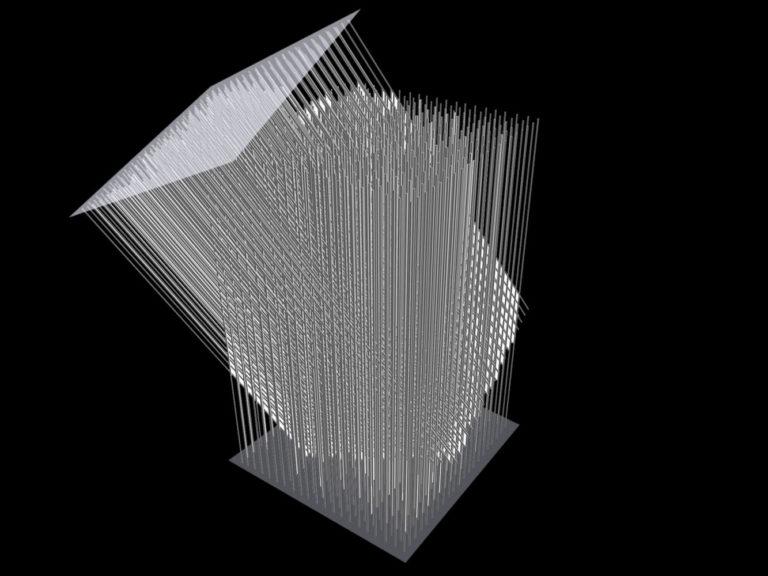 Entwurf für Objekt aus Stäben und Plexiglas